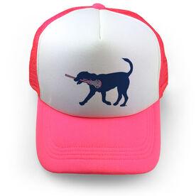 Girls Lacrosse Trucker Hat - LuLa The Lax Dog