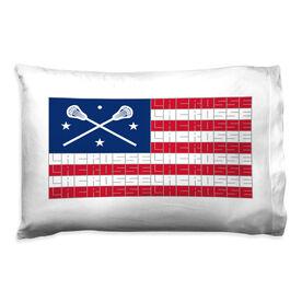 Girls Lacrosse Pillowcase - American Flag Words