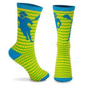 Girls Lacrosse Woven Mid Calf Socks - Zig Zag (Green/Blue/Yellow)