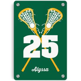 Girls Lacrosse Metal Wall Art Panel - Personalized Crossed Girl Sticks