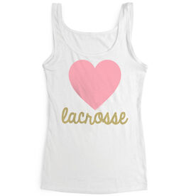 Girls Lacrosse Women's Athletic Tank Top Heart With Lacrosse In Gold Glitter