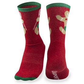 Girls Lacrosse Woven Mid Calf Socks - Gingerbread Man (Red)