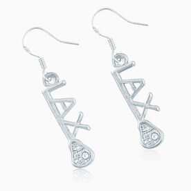 Silver LAX Stick Earrings with Cubic Zirconias
