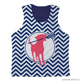 Girls Lacrosse Racerback Pinnie Lacrosse Dog with Girl Stick and Chevron - Navy Interior