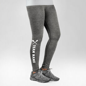 Lacrosse Performance Tights Team Name with Lacrosse Sticks