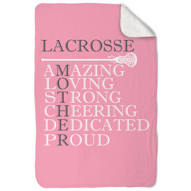 Girls Lacrosse Sherpa Fleece Blanket - Mother Words
