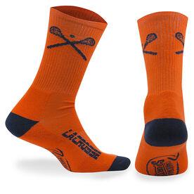 Lacrosse Woven Mid Calf Socks - Crossed Sticks (Orange)