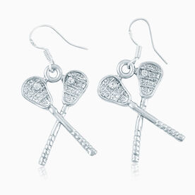 Crossed Lacrosse Sticks with Cubic Zirconia Earrings