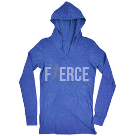 Women's Lacrosse Lightweight Performance Hoodie Fierce Lacrosse Girl with Silver Glitter