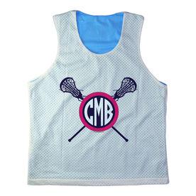 Girls Racerback Pinnie Monogram Lacrosse Sticks Pink