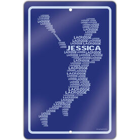 "Lacrosse Aluminum Room Sign Personalized Lacrosse Words Female (18"" X 12"")"