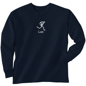 Girls Lacrosse Long Sleeve T-Shirt - Lacrosse Girl White Stick Figure with Word