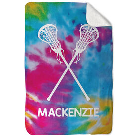 Girls Lacrosse Sherpa Fleece Blanket Personalized Tie Dye Pattern with Sticks