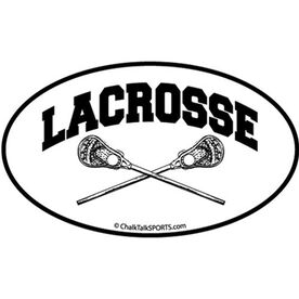 Lacrosse Crossed Sticks Oval Car Magnet (Black)