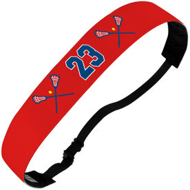 Girls Lacrosse Julibands No-Slip Headbands - Crossed Sticks and Number