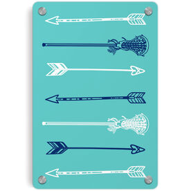 Girls Lacrosse Metal Wall Art Panel - Lacrosse Arrows