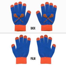 Lacrosse Touchscreen Knit Gloves - Blue/Orange