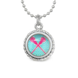 Lacrosse Crossed Sticks Blue SportSNAPS Necklace