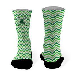 Lacrosse Printed Mid Calf Socks Shamrock with Crossed Sticks and Chevron
