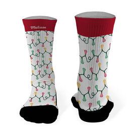 Lacrosse Printed Mid Calf Socks Lacrosse Sticks with Christmas Lights
