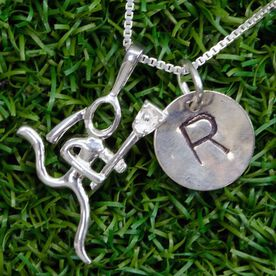 Sterling Silver Hand Stamped Half Inch Block Font Initial Pendant and Lacrosse Stick Figure Necklace