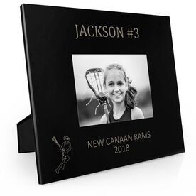 Girls Lacrosse Engraved Picture Frame - Name and Number (Girl Player Silhouette)