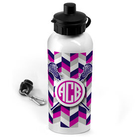 Lacrosse 20 oz. Stainless Steel Water Bottle Monogrammed Double Chevron Pattern With Crossed Sticks