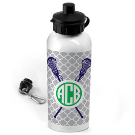 Lacrosse 20 oz. Stainless Steel Water Bottle Personalized Monogram Lacrosse Sticks With Quatrefoil Pattern