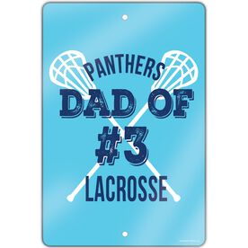 "Lacrosse Aluminum Room Sign (18""x12"") Personalized Team Lacrosse Dad Of"
