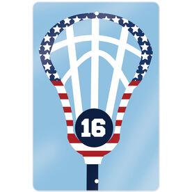 """Lacrosse 18"""" X 12"""" Aluminum Room Sign Patriotic Lax Stick with Number"""