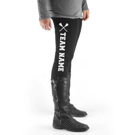 Lacrosse High Print Leggings Team Name with Lacrosse Sticks