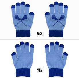 Lacrosse Touchscreen Knit Gloves - Carolina Blue/Blue