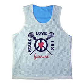 Girls Racerback Pinnie Peace Love Lax Forever