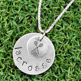 Sterling Silver Hand Stamped Curly Font Crossed Sticks and Lacrosse Double Layered Charm Necklace