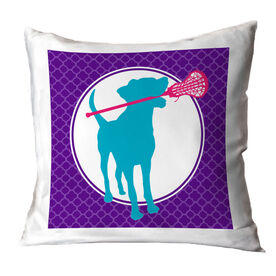 Girls Lacrosse Throw Pillow Lacrosse Dog with Girl Stick