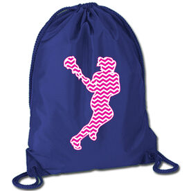 Lacrosse Sport Pack Cinch Sack Chevron Lax Girl Pink