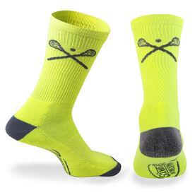 Lacrosse Woven Mid Calf Socks - Crossed Sticks (Neon/Gray)