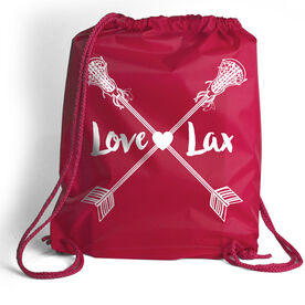 Girls Lacrosse Sport Pack Cinch Sack Love Lax Crossed Arrows