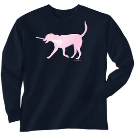 Girls Lacrosse Long Sleeve T-Shirt - LuLa The Lax Dog (Pink)