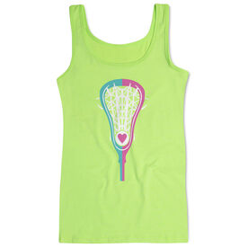 Girls Lacrosse Women's Athletic Tank Top Stick Heart