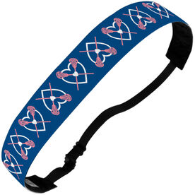 Girls Lacrosse Julibands No-Slip Headbands - Lax Hearts with Crossed Sticks