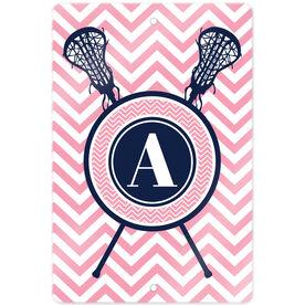 "Girls Lacrosse 18"" X 12"" Aluminum Room Sign Single Letter Monogram with Crossed Sticks and Chevron"