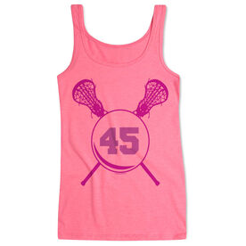 Girls Lacrosse Women's Athletic Tank Top Personalized Sticks With Number