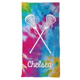 Lacrosse Beach Towel Personalized Tie Dye Pattern with Sticks