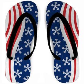 Girls Lacrosse Flip Flops American Flag