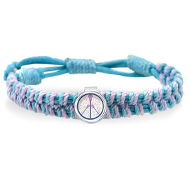 Peace Love Lacrosse Flowers Adjustable Woven SportSNAPS Bracelet