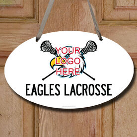 Custom Lacrosse Logo with Team Name Decorative Oval Sign