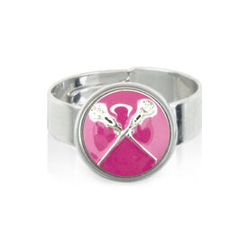 Lacrosse Crossed Sticks Enamel Pink SportSNAPS Ring