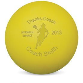 Lacrosse Thanks Coach Player Female Laser Engraved Lacrosse Ball (Yellow Ball)