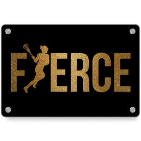 Girls Lacrosse Metal Wall Art Panel - Fierce